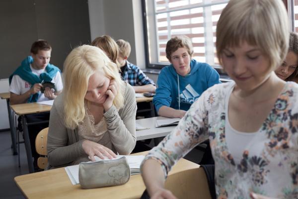 Opiskelijat istuvat luokassa pulpetin ääressä