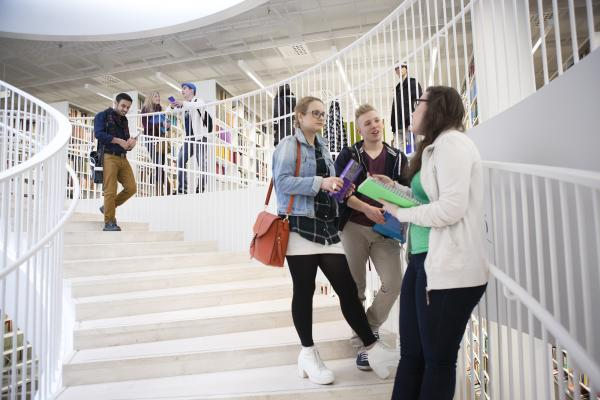 Students having a conversation on a staircase