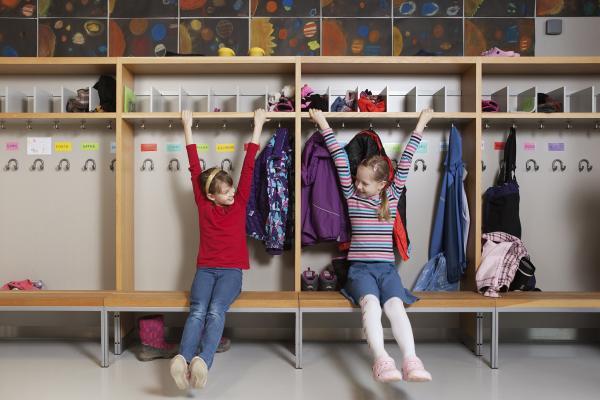 Girls playing indoors