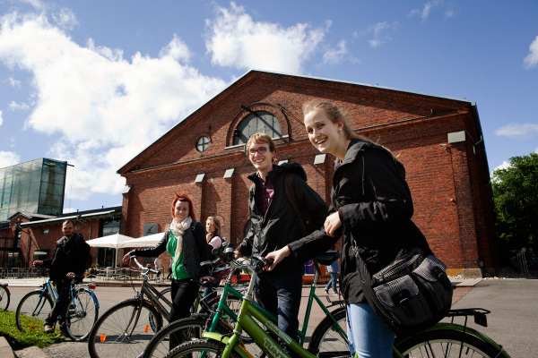 Students bicycling in the garrison area of Turku
