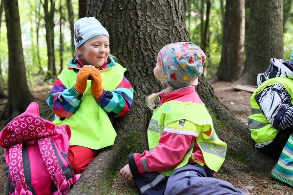 Children eating packed lunches in the woods