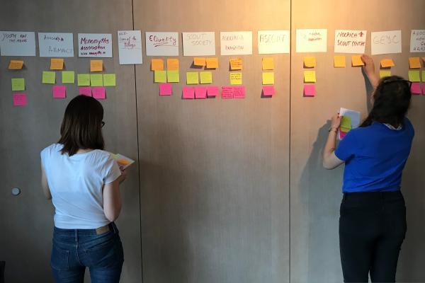 Kaksi naista laittaa post it -lappuja seinälle.