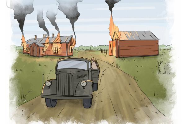 Piirretty kuva autosta kahden palavan talon välissä.