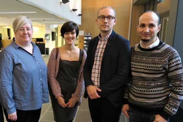 Työpajan puhujat Aurora Vasama, Valisa Krairiksh, Antti Kanniainen ja Mosa Ahmad