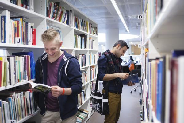 Kaksi miestä selailee kirjoja kirjaston hyllyjen välissä