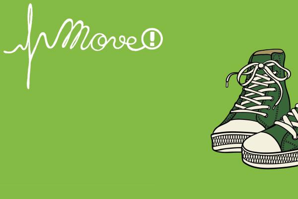 Piirros, jossa on lasten tennarit ja Move!-mittausten logo