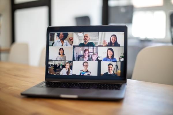 Deltagare på en virtuella möte på datorskärm