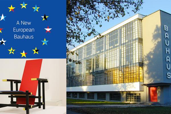 Kuvassa on Euroopan unionin tähtilippu, jossa on kirjavia tähtiä, sekä Bauhaus-tyylisuuntaa edustavat Gerrit Ritveldin punainen tuoli ja Walter Gropiuksen suunnittelema koulurakennus Dessaussa.
