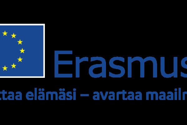 EU-lippu ja teksti Erasmus+ muuttaa elämäsi, avartaa maailmaasi