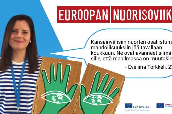 Eveliina Torkkeli ja puhekuplassa virke