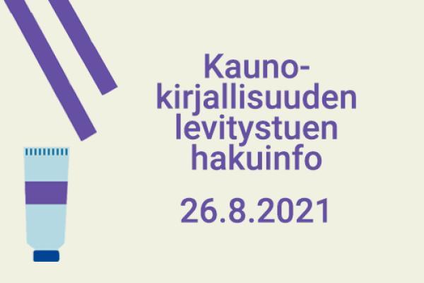 Luova Eurooppa -ohjelman kaunokirjallisuuden levitystuen hakuinfo 26.8.2021