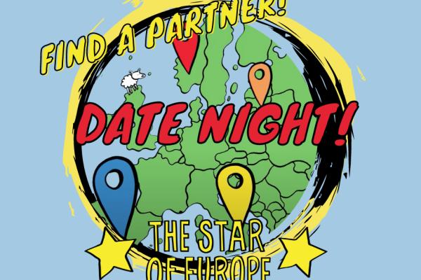 Kuva, jossa piirretyn maapallon päällä lukee Find a Partner, Star of Europe Date Night
