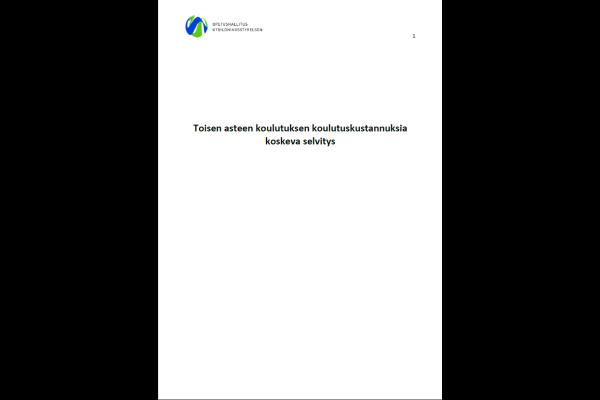 Toisen asteen koulutuksen koulutuskustannuksia koskeva selvitys