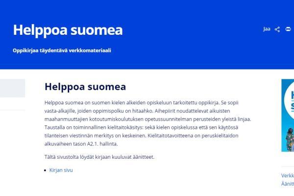 Helppoa suomea - Oppikirjaa täydentävä verkkomateriaali