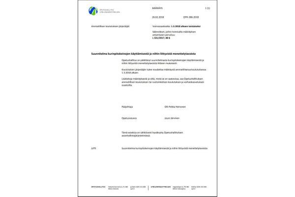 Määräys suunnitelmasta kurinpitokeinojen käyttämisestä ja niihin liittyvistä menettelyistä OPH-286-2018