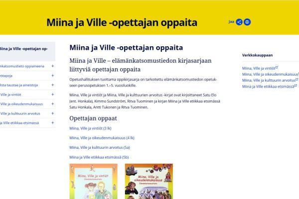 Miina ja Ville -opettajan oppaita