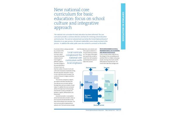 New national core curriculum for basic education: focus on school culture and integrative approach