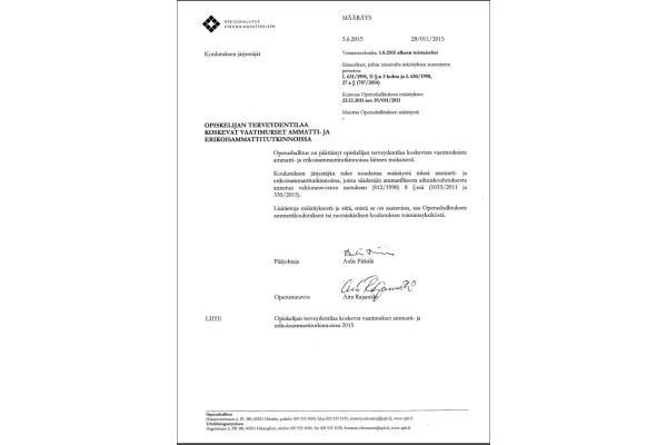 Määräys opiskelijan terveydentilaa koskevista vaatimuksista ammatti- ja erikoisammattitutkinnoissa 28-011-2015