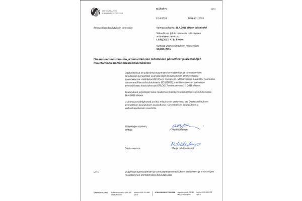 Määräys osaamisen tunnistamisen ja tunnustamisen mitoituksen periaatteista ja arvosanojen muuntamisesta ammatillisessa koulutuksessa OPH-501-2018