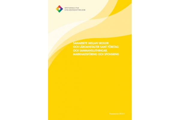 Samarbete mellan skolor och läroanstalter samt företag och sammanslutningar, marknadsföring och sponsring