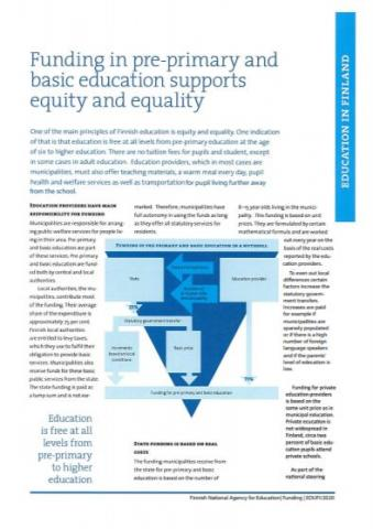 Brochure: Funding in pre-primary and basic education supports equity and equality