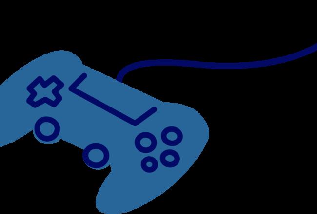 Yksinkertaisessa, sinisävyisessä piirroskuvassa on peliohjain.