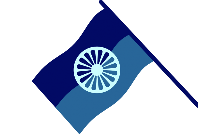 Yksinkertaisessa, sinisävyisessä piirroskuvassa on romanien kansallislippu.