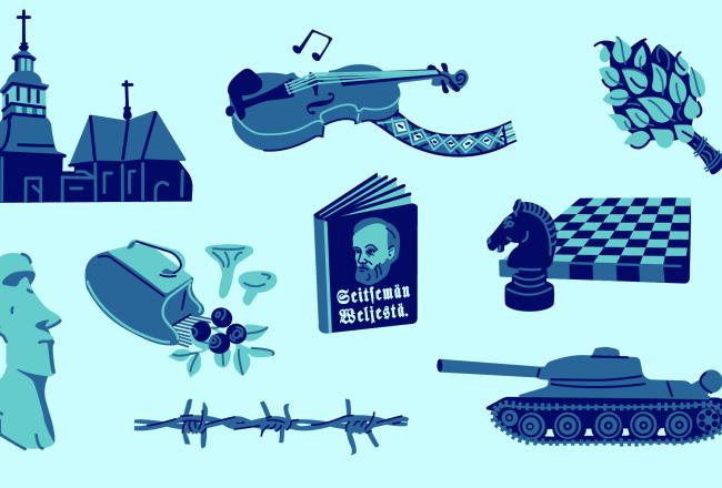 Yksinkertaisessa, sinisävyisessä piirroskuvassa on monta elementtiä vierekkäin: Petäjäveden kirkko, kaustislainen viulu, vihta, Pääsiäissaarten patsas, marjapoimuri, Seitsemän veljestä -romaani, shakkilauta hevosnappula edessään, pala piikkilankaa sekä panssarivaunu.