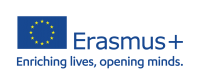 EU flag with text Erasmus+ enriching lives, opening minds